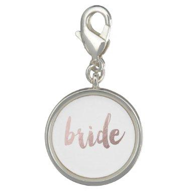"modern elegant clear faux rose gold ""bride"" charm"