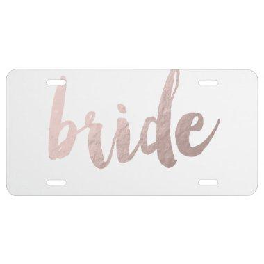 "modern elegant clear faux rose gold ""bride"" license plate"