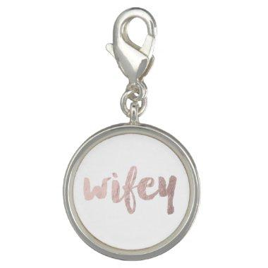 modern elegant faux rose gold wifey text charm