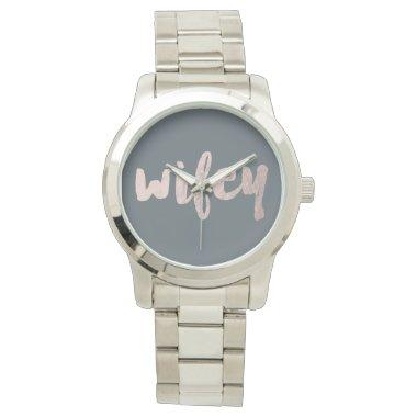 modern elegant faux rose gold wifey text watch