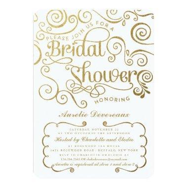 Modern Fancy Gold Swirls Bridal Shower Invitations