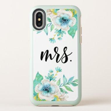 Modern Fancy Script Vintage Floral Watercolor OtterBox Symmetry iPhone X Case