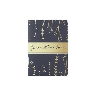 Modern Faux Golden Fronds on Dark Blue Passport Holder