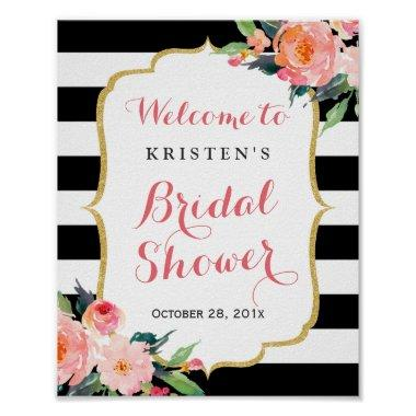 Modern Floral Black Stripes  Sign