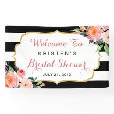 Modern Floral Black White Stripes  Banner