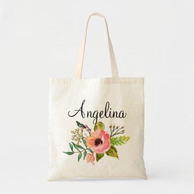 Modern Floral Bridesmaid Personalized-2 Tote Bag