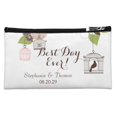 Modern Floral Design w Bird Cages n Love Birds Art Makeup Bag