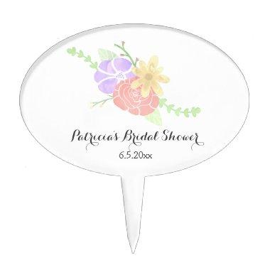 Modern Floral Watercolor  Cake Topper