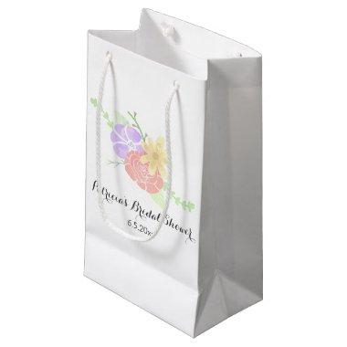 Modern Floral Watercolor  Small Gift Bag