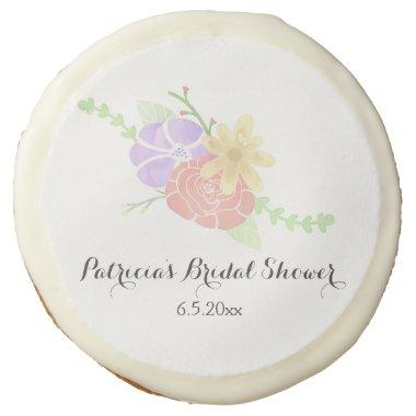 Modern Floral Watercolor Bridal Shower Sugar Cookie