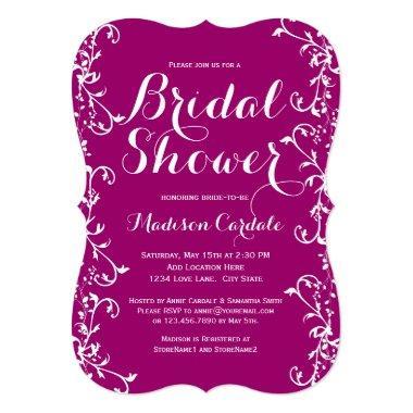 Modern Flourish Magenta Bridal Shower Invitations