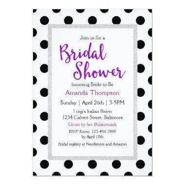 Modern Girly Chic Dots Bridal Shower Invitations