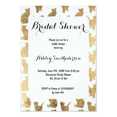 Modern gold cats pattern bridal shower Invitations