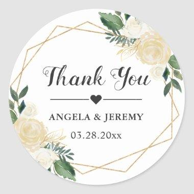 Modern Gold Green Floral Wedding Favor Thank You Classic Round Sticker