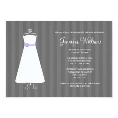 Modern Gray and Purple Gown Stripes Bridal Shower Invitations