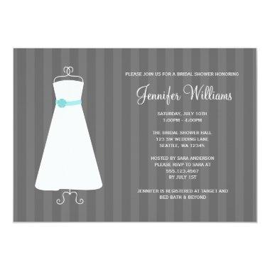 Modern Gray and Teal Gown Stripes