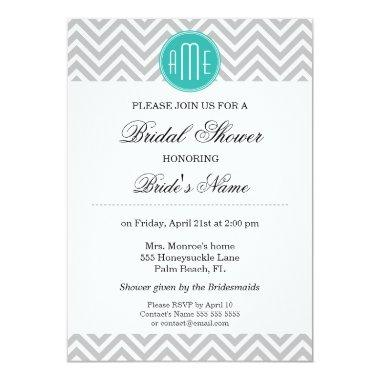 Modern Gray Chevron Mint Monogram -