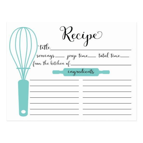 Modern Hand Lettered Blue Whisk Recipe
