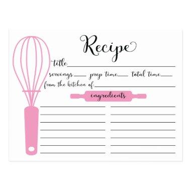 Modern Hand Lettered Pink Whisk BridalRecipe Invitations