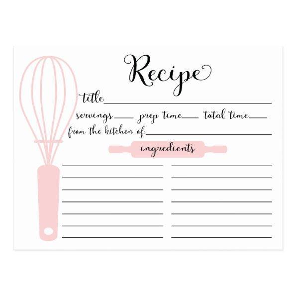 Modern Hand Lettered Pink Whisk Recipe