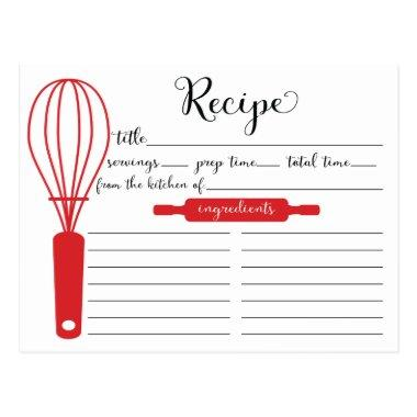 Modern Hand Lettered Red Whisk Recipe Invitations