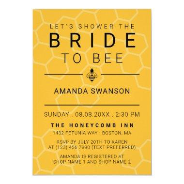 Modern Honeycomb & Bee Bridal Shower Invitations