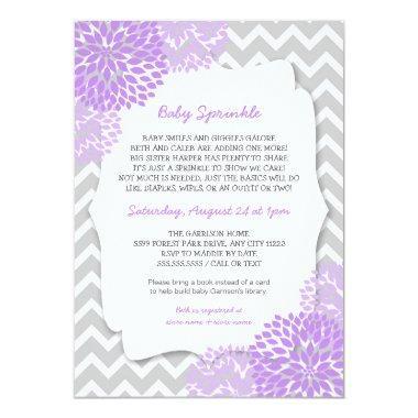 Modern Lavender Dahlia Baby sprinkle invites