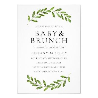 Modern Leaf Wreath Baby Shower Brunch Invite