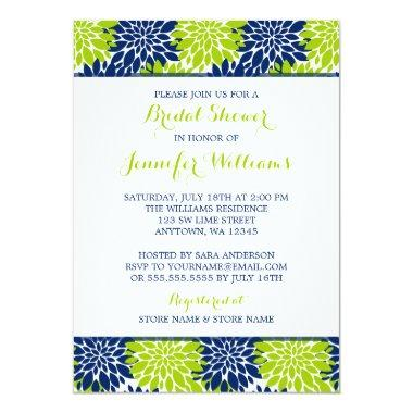Modern Lime Green Navy Blue Flower Bridal Shower Invitations