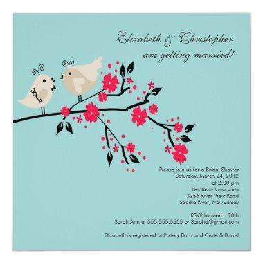 Modern Love Birds Bridal Shower Invitations