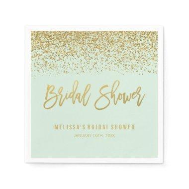 Modern Mint Faux Gold Glitter Bridal Shower Paper Napkin