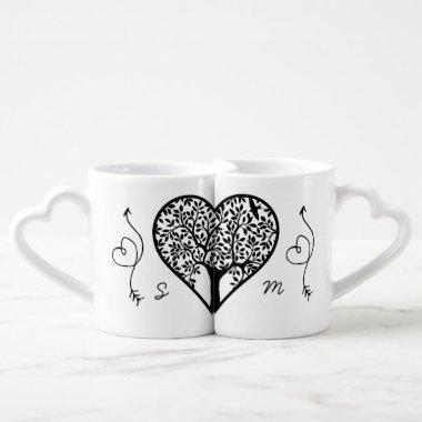 Modern Monogram Tree Life Newlyweds Wedding Coffee Mug Set