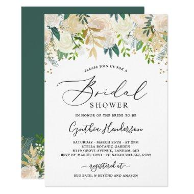 Modern Nature Green Gold Floral Bridal Shower Invitations