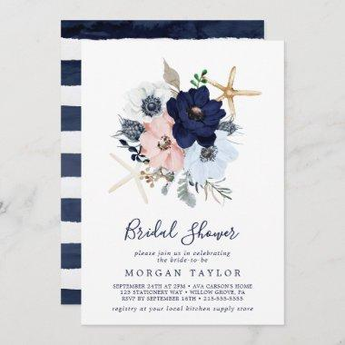 Modern Nautical | Floral Bridal Shower Invitations