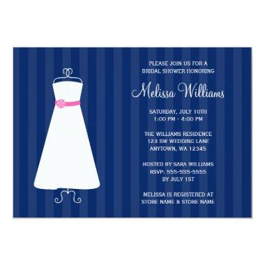 Modern Navy Blue and Pink Gown