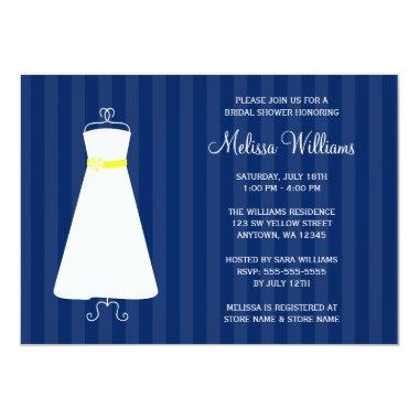 Modern Navy Blue and Yellow Gown Bridal Shower Invitations