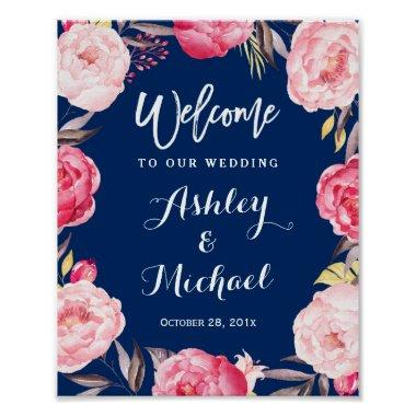 Modern Navy Blue Floral Wreath Wedding Sign