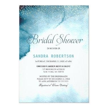 Modern ocean blue ombre watercolor Bridal Shower Invitations
