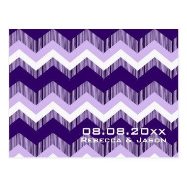 modern ombre purple chevron wedding save the date post