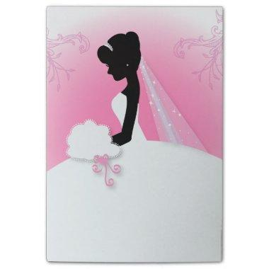 modern pink Elegant bride silhouette bride Post-it Notes