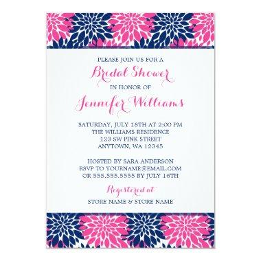 Modern Pink Navy Blue Flower Bridal Shower Invitations