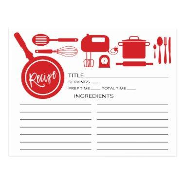 Modern Red Kitchen Utensils Recipe Invitations