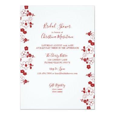 modern red white cherry blossom bridal shower invitations