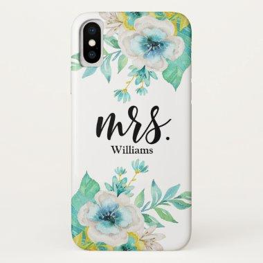 Modern Script Stylish Vintage Floral Watercolor iPhone X Case
