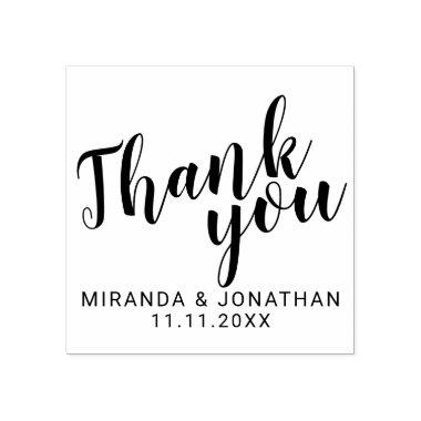 Modern Script Wedding Favor Thank You Rubber Stamp