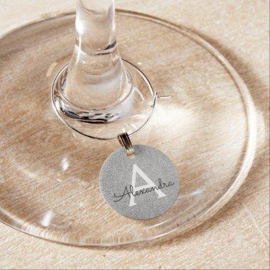 Modern Silver Glitter and Sparkle Monogram Wine Charm