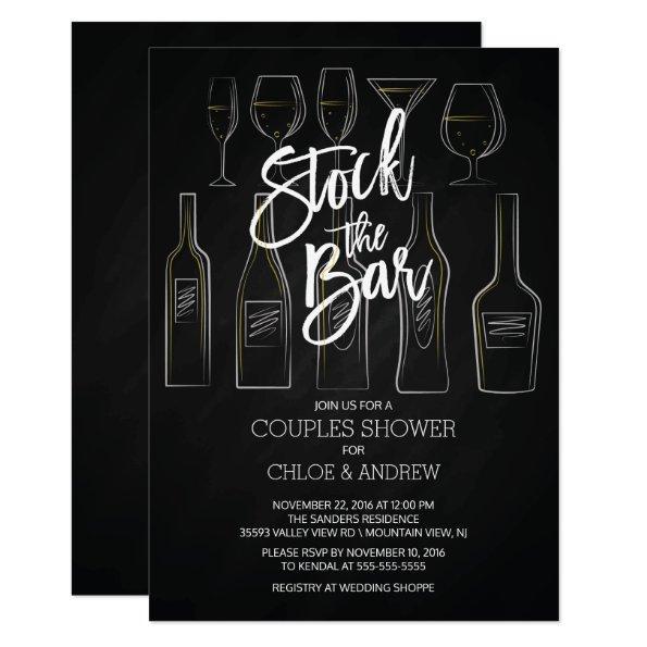 Modern Stock the Bar Couples Shower Invite
