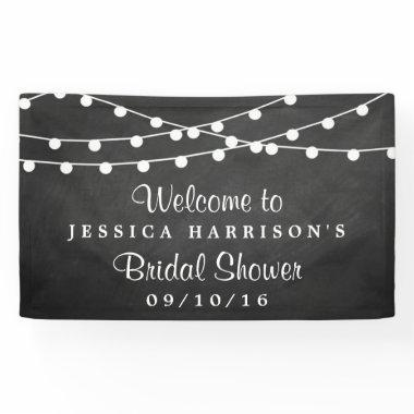 Modern String Lights On Chalkboard  Banner