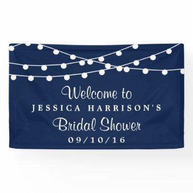 Modern String Lights On Navy Blue Bridal Shower Banner