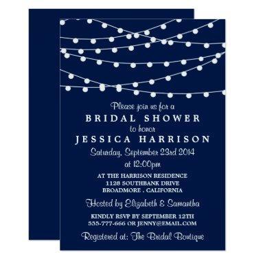 Modern String Lights On Navy Blue Bridal Shower Invitations